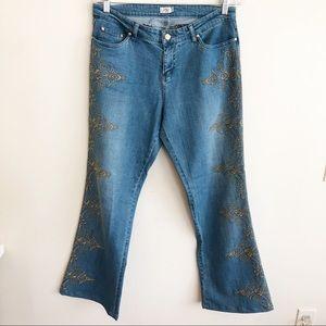 Vintage Cache Embroidered Flare Denim Jeans 12